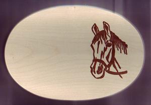 Frühstücksbrett Oval 18 x 26 x 1,5  Motiv Pferdekopf