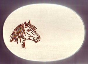 Frühstücksbrett Oval 18 x 26 x 1,5 Pferde Motiv Ponykopf