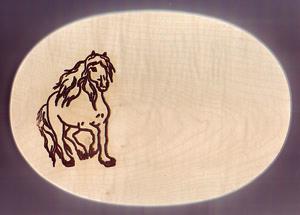 Frühstücksbrett Oval 18 x 26 x 1,5 Pferde Motiv Fantasie
