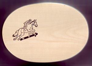 Frühstücksbrett Oval 18 x 26 x 1,5 Pferde Motiv Springen