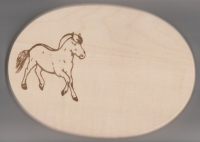 Frühstücksbrett Oval 18 x 26  x 1,5  Fjord Pferd / Norweger