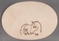 Frühstücksbrett Oval 18 x 26  x 1,5  Pferde Motiv Stute Fohlen
