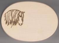 Frühstücksbrett Oval 18 x 26  x 1,5  Pferde Motiv Andalusier