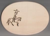 Frühstücksbrett Oval 18 x 26  x 1,5  Pferde Motiv Voltigieren