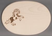 Frühstücksbrett Oval 18 x 26  x 1,5  Pferde Motiv Pinto steigend