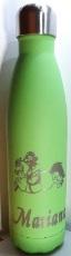 Thermoflasche, Thermosflasche bzw. Isolierflasche mit Wunschgravur und Namen Glitzer, Soft und Matt in diversen Farben