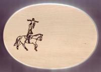 Frühstücksbrett Pferde Motiv Voltigieren Oval 18 x 26 x 1,5