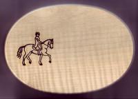 Früstücksbrett Oval 18 x 26 x 1,5 Pferde Motiv Dressur