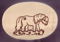 Frühstücksbrett Oval 18 x 26 x 1,5  Pferde Motiv Pony - Blume