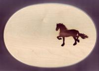 Frühstüchsbrett Oval 18 x 26 x 1,5 Pferde Motiv Friese