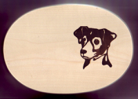 Frühstücksbrett Hunde Motiv Jack Russel Oval 18 x 26 x 1,5