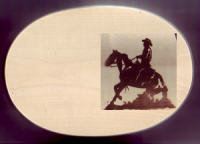 Frühstücksbrett Pferde Motiv Western Stop Oval 18 x 26 x 1,5